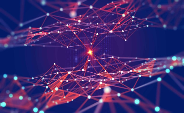 Global network. Blockchain. 3D illustration. Neural networks and